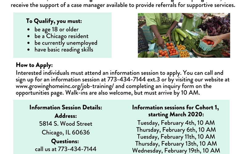 Growing Home 14-week paid job training program in Englewood in urban farming, environmental literacy, and work readiness