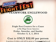 FRIGHT FEST Coasters For A Cause at Six Flags Great America