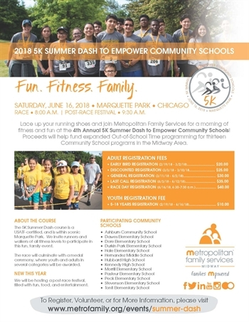 Metropolitan Family Services 5k Summer Dash to Mpower Community Schools